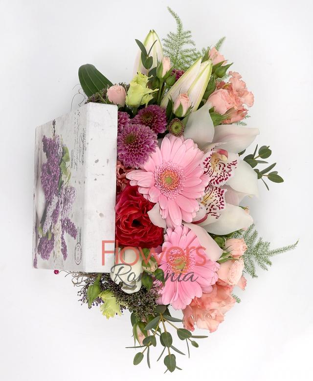 1 white lily, 2 pink gerbera, 2 pink lisianthus, 2 pink miniroses, white cymbidium, 1 pink santini, greenery
