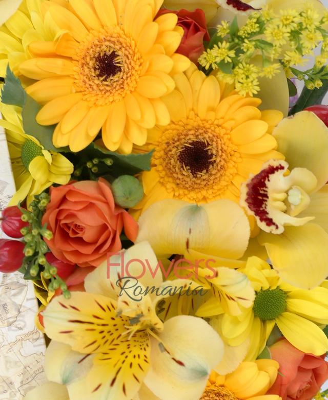 3 gerbera galbenă, 2 miniroze portocalii, 1 crizantemă galbenă, 2 hypericum roșu, 1 alstroemeria galbenă, cymbidium galben, 2 lalele portocalii, solidago, verdeață