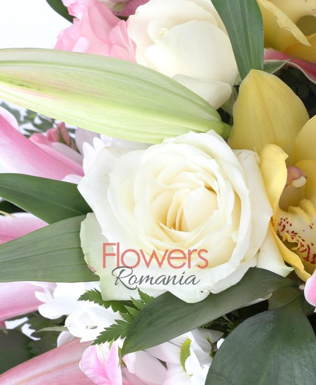 2 crini roz, 5 gerbera ciclam, 4 trandafiri crem, 1 cymbidium galben, 5 lisianthus roz, 3 miniroze roz, aspidistra, ruscus, ferigă