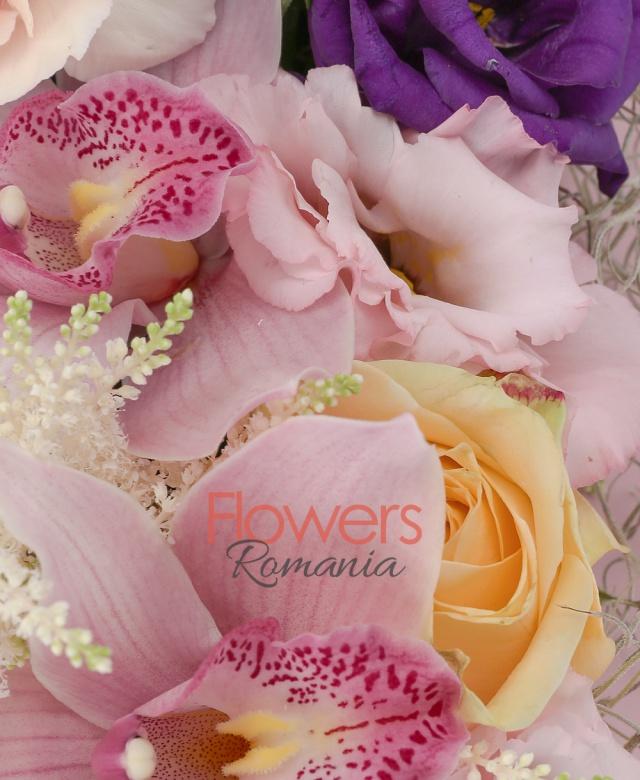 2 trandafiri banan, 3 garoafe crem, 3 lalele roz, 2 santini roz, 3 astilbe albe, 2 lisianthus mov, cymbidium roz, tillandsia, carte
