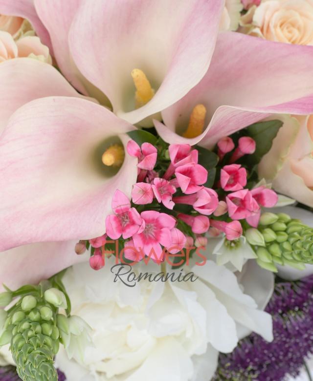7 trandafiri banan, 3 trandafiri albi, 10 cale roz, 5 trachelium mov, 6 bouvardia roz, 10 ornithogalum alb, cymbidium alb, beargrass