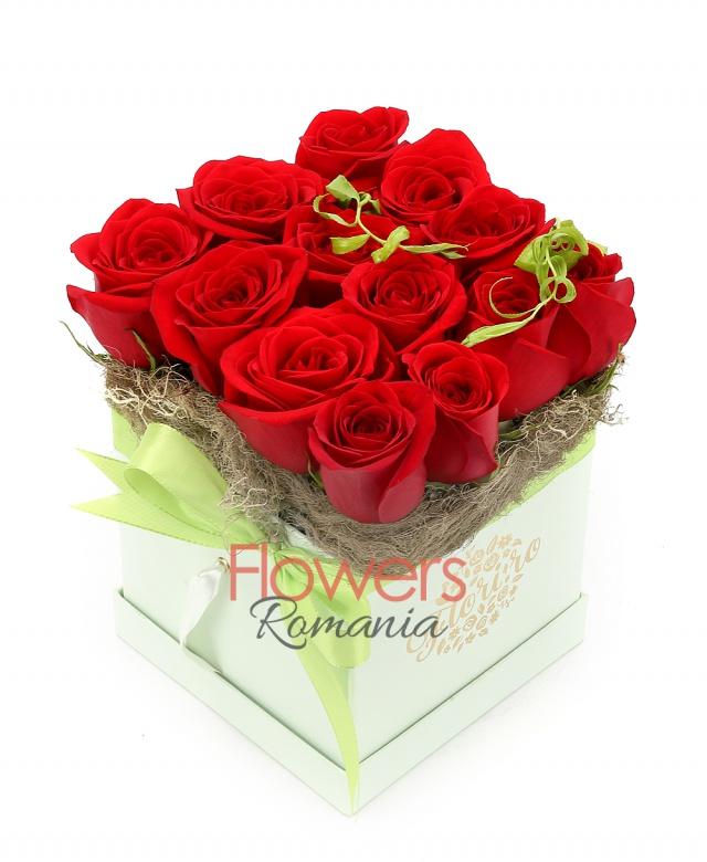 13 red roses, greenery, box