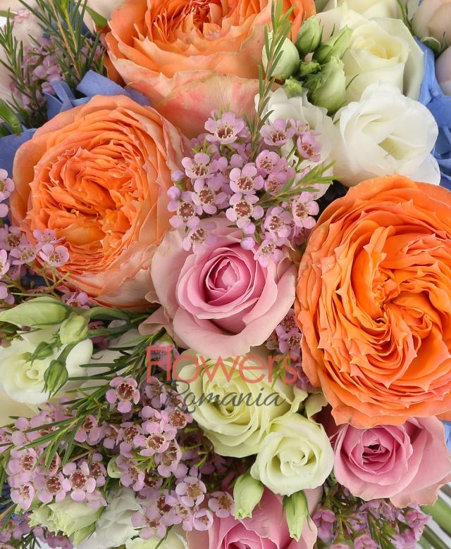 2 hortensii albastre, 5 trandafiri david austin portocalii, 7 trandafiri roz, 7 lalele roz, 5 ranunculus roz, 5 miniroze roz, 3 miniroze albe, 5 waxflower roz, 5 lisianthus alb