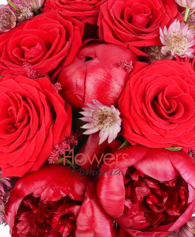 10 bujori grena, 9 trandafiri rosii, 7 astilbe rosii, 10 astrantia rosie