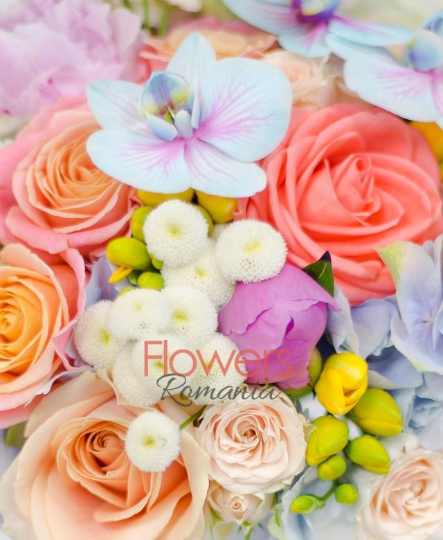 3 hortensii bleo verzui, 7 bujori roz, 10 trandafiri miss piggy, 5 trandafiri peach avalanche, 5 miniroze crem, 5 trandafiri portocalii, 10 frezii galbene, 10 crizanteme tanacetum, 3 orhidee phalaenopsis