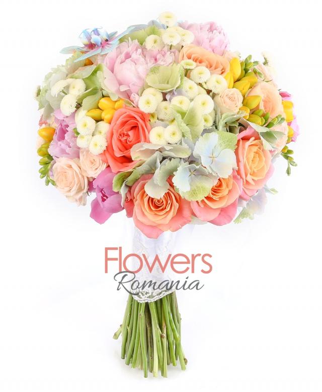 3 hydrangeas, 7 pink peonies, 10 miss piggy roses, 5 peach avalanche roses, 5 cream miniroses, 5 orange roses, 10 yellow freesias, 10 tanacetum chrysanthemums, 3 phalaenopsis orchids