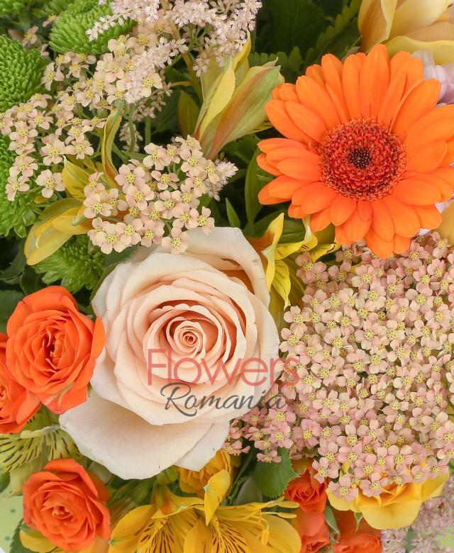 5 trandafiri crem, 3 gerbera portocalie, 3 leucospermum, 5 miniroze portocalii, 5 miniroze galbene, 3 crizanteme roz, 3 santini verde, 5 alstroemeria galbena, cymbidium galben, 5 astilbe roz, 5 floare de orez