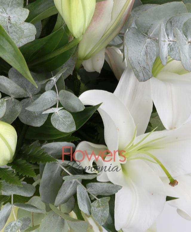 5 crini imperiali albi, eucalypt, salal