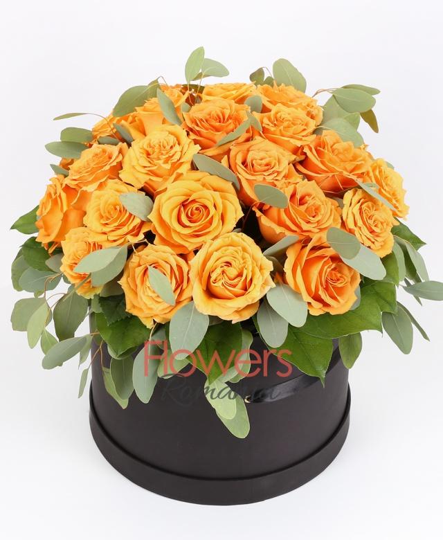 35 orange roses, greenery