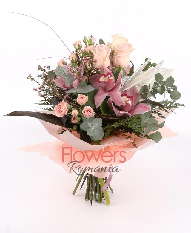 3 pink roses, 1 burgundy cymbidium , 3 pink miniroze, 2 anthurium, waxflower, greenery