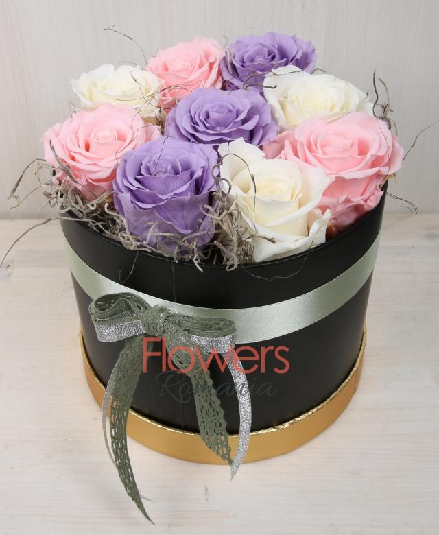 3 violet cryogenic roses, 3 white cryogenic roses, 3 pink cryogenic roses