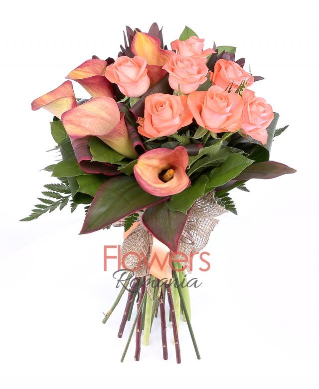 7 orange roses, 5 orange callas, 5 leucadendron, greenery