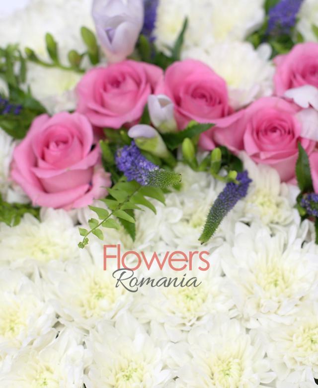 30 crizanteme albe, 6 trandafiri roz, 5 frezii mov, ferigă, 8 veronica mov