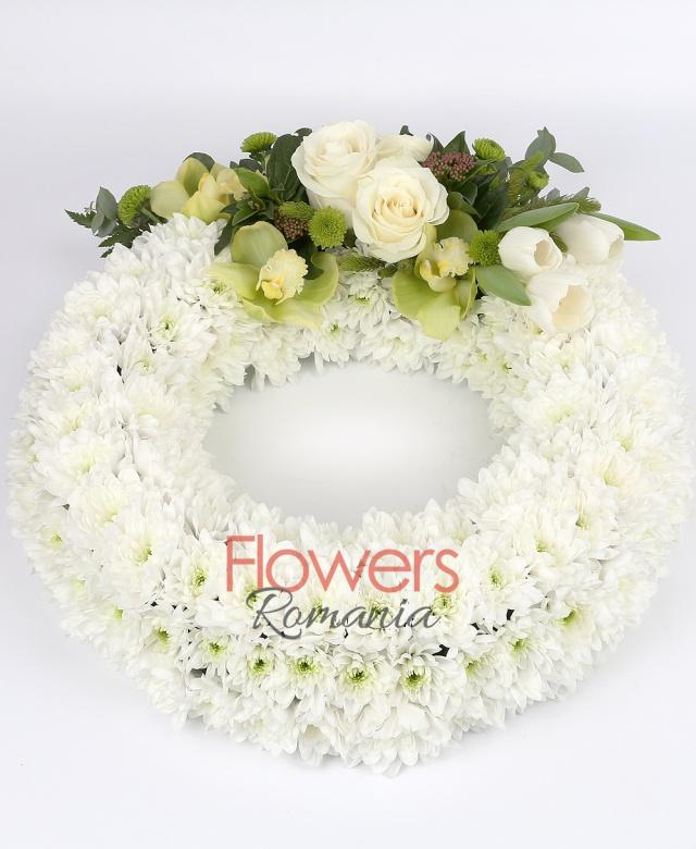 25 white chrysanthemums, 3 white roses, green cymbidium cups, 3 green santini, greenery