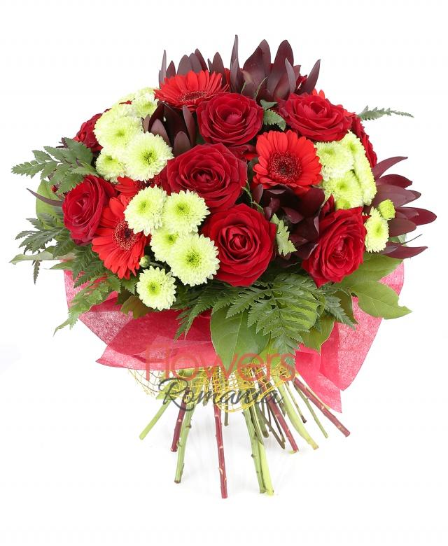 7 red roses, 5 white santini, 5 leucadendron, 4 red gerberas, greenery