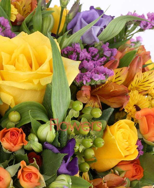 5 yellow roses, 5 orange miniroze, 5 orange alstroemeria, 5 purple lisianthus, 5 green hypericum, 3 yellow santini, purple limonium, 3 white alstroemeria