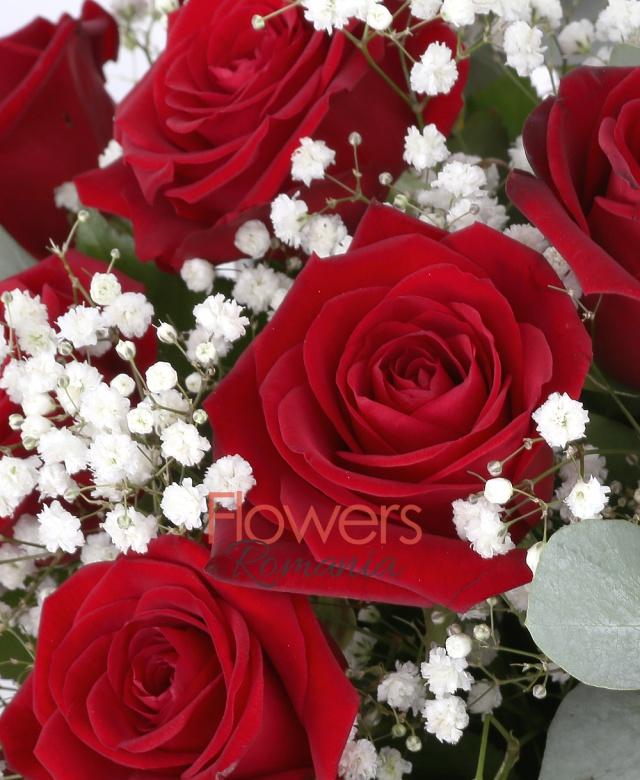 basket, 23 red roses, gypsophila, greenery