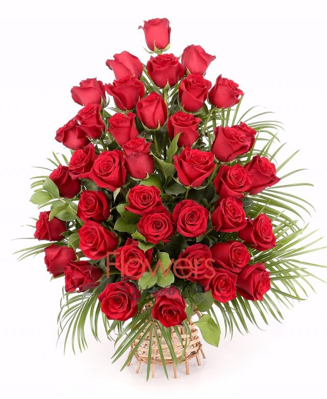 basket, 39 roses, greenery