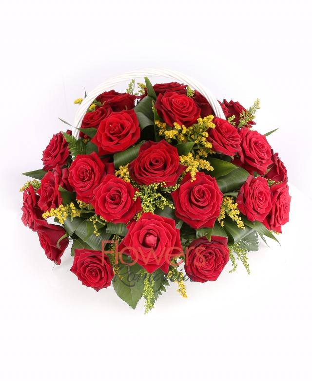 basket, 23 red roses, solidago, greenery