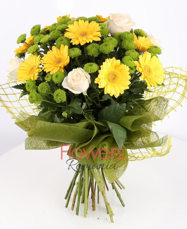 5 cream roses, 11 yellow gerberas, 8 green santini