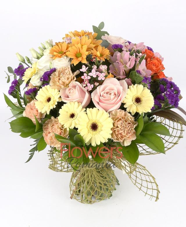 3 carnations, 5 cream gerbera, 3 pink roses, 3 orange miniroses, 1 orange chrysanthemum, 5 white lisianthus, 3 pink bouvardia , limonium, 3 pink alstroemeria