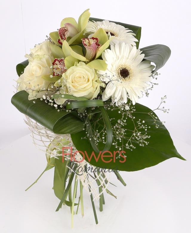 3 white roses, 3 white gerbera, 1 green cymbidium , gypsophila, greenery