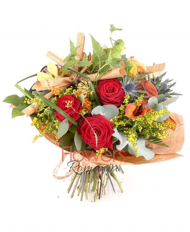 3 red roses 5, orange callas, 3 orange roses, 3 orange asclepias, 2 eryngium, 2 physalis, 3 green cymbidium cups, solidago
