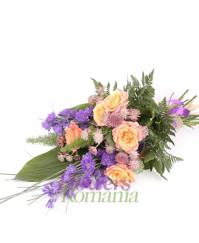 5 orange roses, 2 blue delphinium, 5 astrans, greenery
