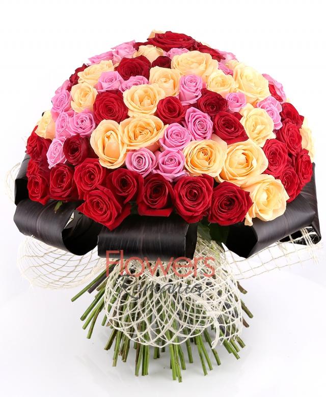 35 red roses, 33 pink roses, 33 banana roses