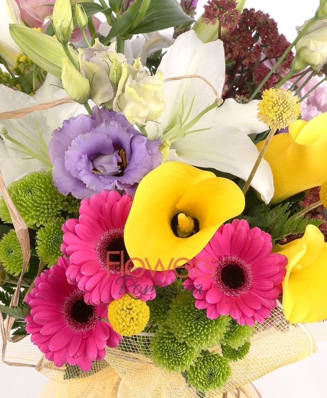 1 crini albi, 3 gerbera ciclam, 3 cale galbene, 2 liatris, 1 cybidium roz, 3 lisianthus mov, 1 crizantemă roz, 3 craspedia, 2 kalanchoe, solidago, 2 santini verde
