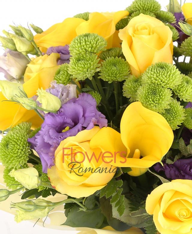 7 yellow roses, 3 yellow callas, 7 green santini, 5 purple lisianthus