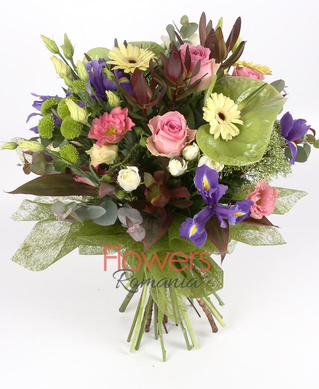 3 green anthurium, 5 purple iris, 3 pink roses, 3 pink lisianthus,  5 white lisianthus, 3 leucadendron, 3 green santini, 3 white miniroze, 3 cream gerbera, 3 white trachelium, leaves